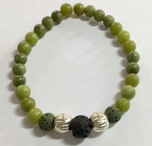 Serpentine Stretch Bracelet With Lava Beads