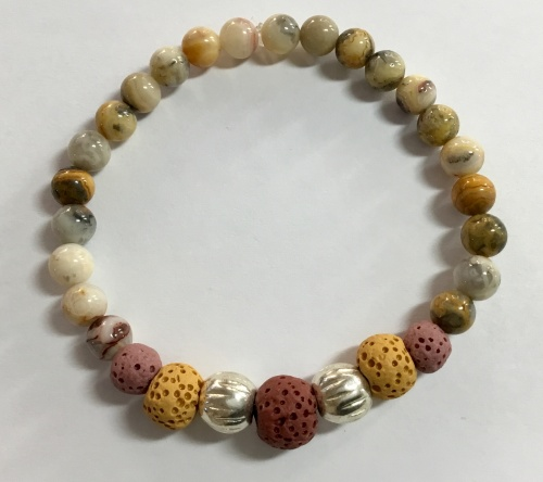 Crazy Lace Agate Stretch Bracelet With Lava Beads