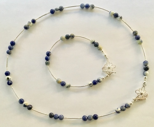 Sodalite & Sterling Necklace & Bracelet Set