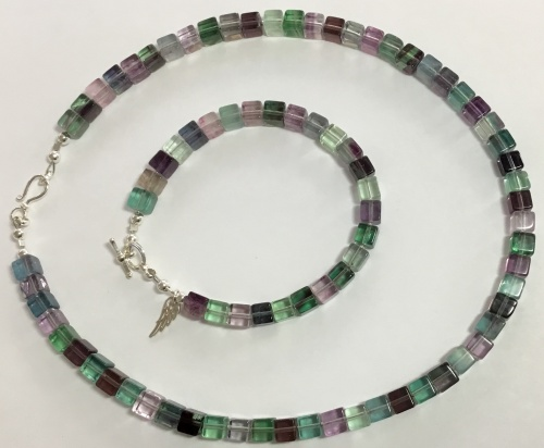Fluorite & Sterling Bracelet & Necklace Set