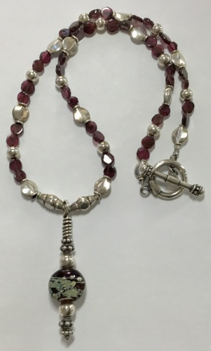 Garnet & Sterling Necklace With Lampwork Glass Bead Pendant