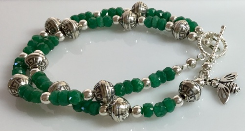 Emeralds & Sterling Bracelet - May Birthstone
